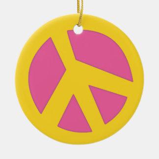 Peace-Smiley Yellow Ceramic Ornament