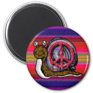 peace snail 2 inch round magnet