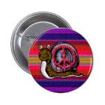 peace snail pinback buttons