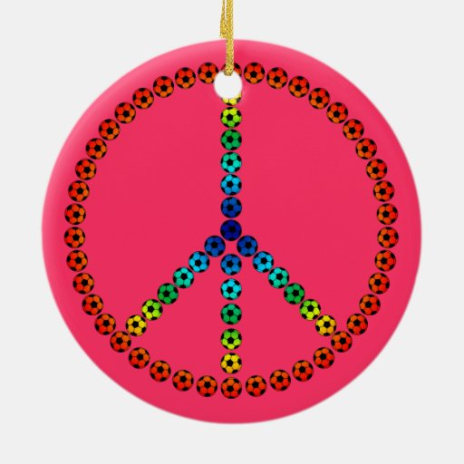 Peace Soccer Ceramic Ornament
