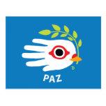 Hand shaped Peace Spanish postcard