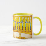 """Peace Sparkle Shine, Yellow Hanukkah Menorah Photo Mug<br><div class=""""desc"""">""""Peace, sparkle, shine."""" A close-up photo of a bright, colorful, yellow and gold artsy menorah helps you usher in the holiday of Hanukkah in style. Feel the warmth and joy of the holiday season whenever you drink out of this chic, colorful Hanukkah coffee mug. Makes a striking set of four...</div>"""
