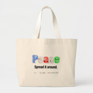 Peace. Spread it around. Large Tote Bag
