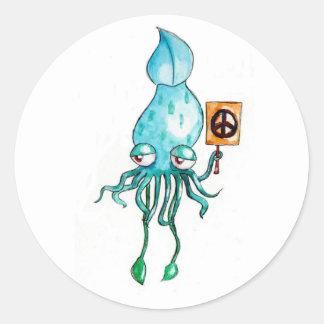 Peace Squid Classic Round Sticker