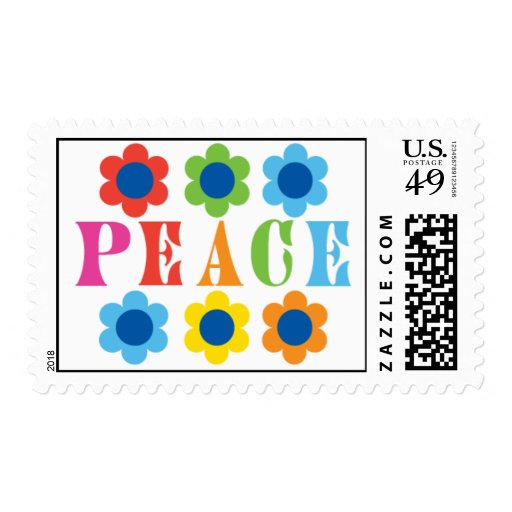 Peace stamp with 60's flowers