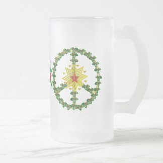 Peace Star Christmas Frosted Glass Beer Mug