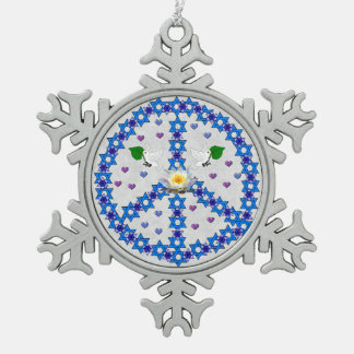 Peace Star Of David Snowflake Pewter Christmas Ornament
