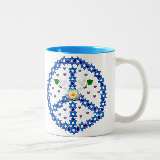 Peace Star Of David Two-Tone Coffee Mug
