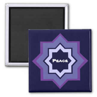 Peace Star Pattern 2 Inch Square Magnet
