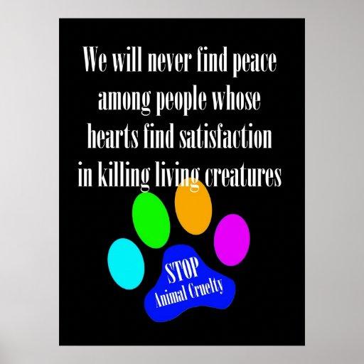 Peace STOP ANIMAL CRUELTY Poster (Black)