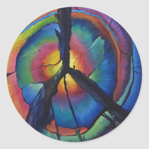 Peace Stump Round Stickers