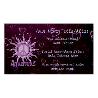 Peace Sun Aquarius Double-Sided Standard Business Cards (Pack Of 100)