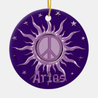 Peace Sun Aries Ceramic Ornament