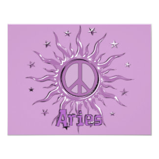Peace Sun Aries 4.25x5.5 Paper Invitation Card