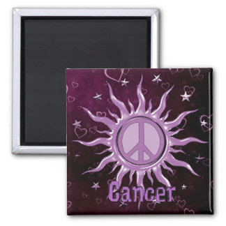 Peace Sun Cancer 2 Inch Square Magnet