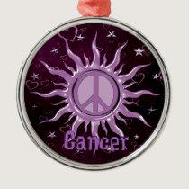 Peace Sun Cancer Metal Ornament