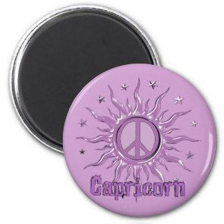 Peace Sun Capricorn 2 Inch Round Magnet