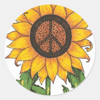 Peace Sun Flower Classic Round Sticker
