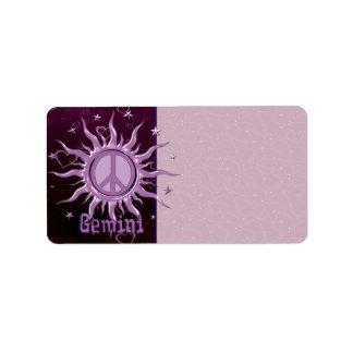 Peace Sun Gemini Label