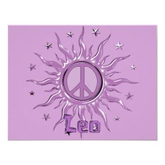 """Peace Sun Leo 4.25"""" X 5.5"""" Invitation Card"""