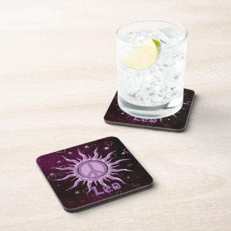 Peace Sun Leo Beverage Coasters