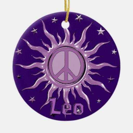 Peace Sun Leo Christmas Tree Ornaments