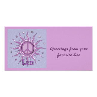 Peace Sun Leo Custom Photo Card