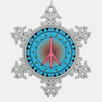 Peace ~ Sun Snowflake Pewter Christmas Ornament