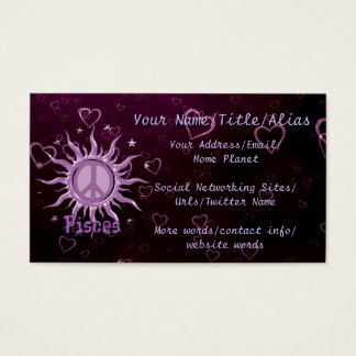 Peace Sun Pisces Business Card