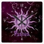 Peace Sun Pisces Clocks