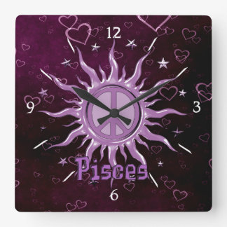 Peace Sun Pisces Square Wall Clock