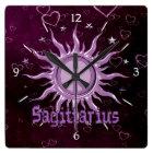 Peace Sun Sagittarius Square Wall Clock