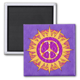 Peace Sun Spiral 2 Inch Square Magnet