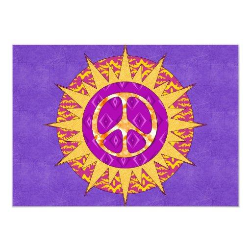 Peace Sun Spiral 5x7 Paper Invitation Card
