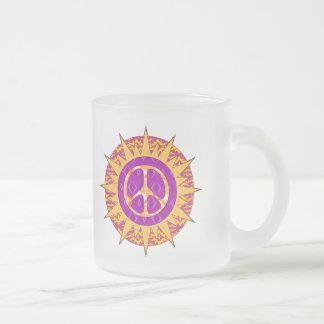 Peace Sun Spiral Frosted Glass Coffee Mug