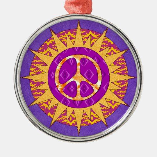 Peace Sun Spiral Metal Ornament