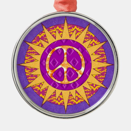 Peace Sun Spiral Round Metal Christmas Ornament