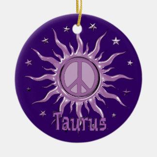 Peace Sun Taurus Ceramic Ornament