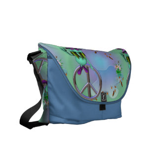 Peace Symbol and Gnome Messenger Bags