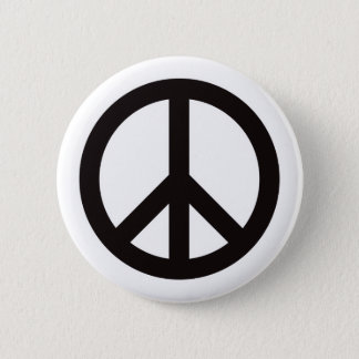 Peace Symbol - Black Pinback Button