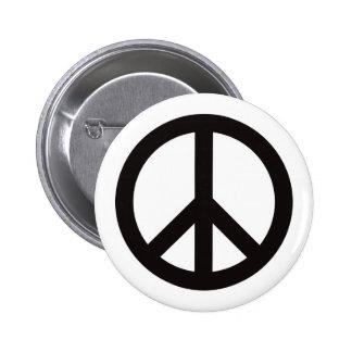 Peace Symbol - Black Pinback Button