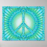 Peace Symbol Blue-Greens Poster
