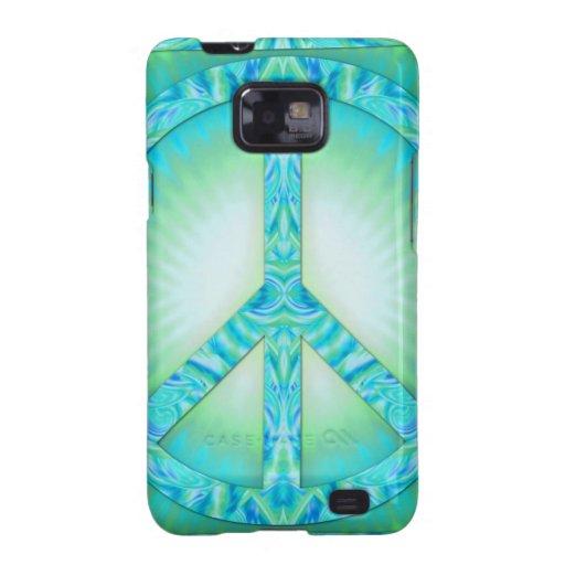 Peace Symbol Blue-Greens Samsung Galaxy S2 Case