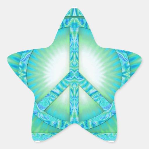 Peace Symbol Blue-Greens Star Sticker