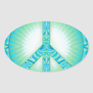 Peace Symbol Blue-Greens Oval Stickers