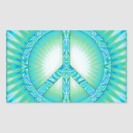 Peace Symbol Blue-Greens Stickers