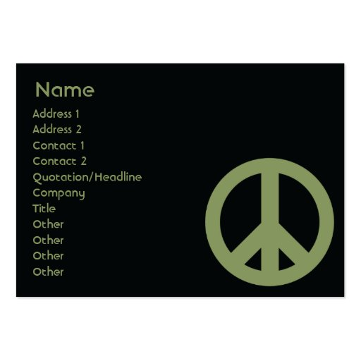Peace Symbol - Chubby Business Card Templates