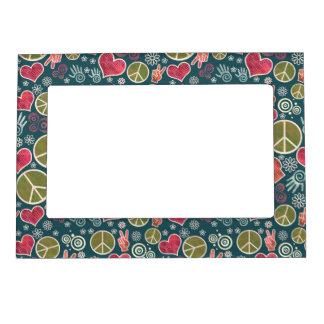 Peace Symbol Design Pattern Magnetic Frame