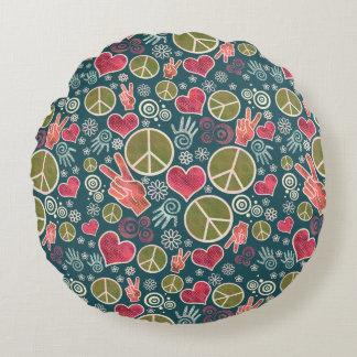 Peace Symbol Design Pattern Round Pillow