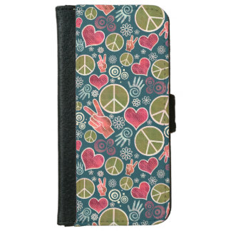 Peace Symbol Design Pattern Wallet Phone Case For iPhone 6/6s